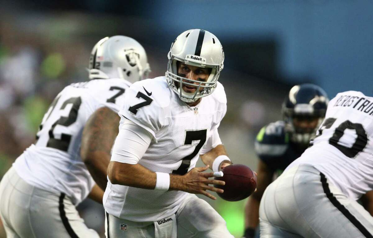 Oakland Raiders quarterback Matt Leinart begins a play during a preseason game on Thursday, August 30, 2012 at CenturyLink Field in Seattle. The Hawks defeated the Raiders 21 to 3.