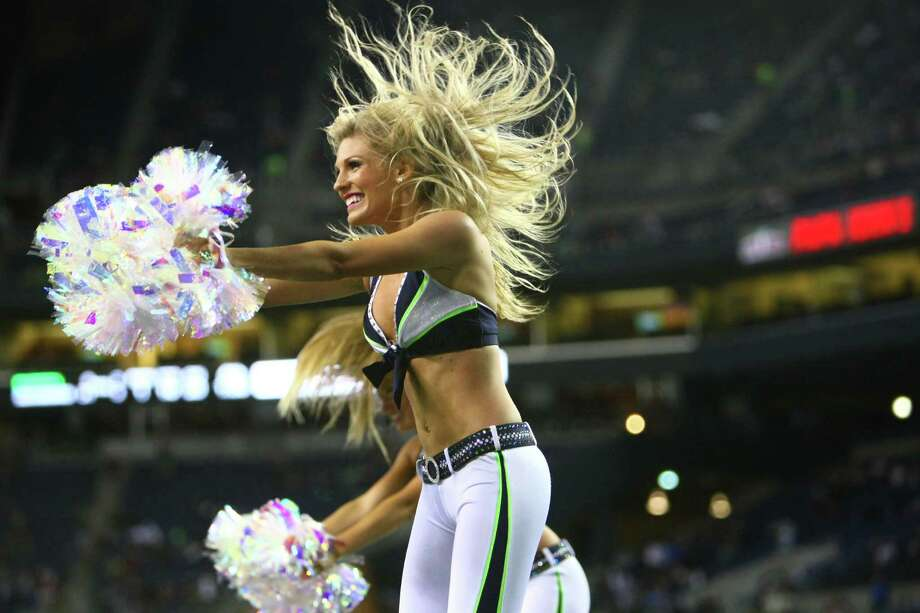 Seattle Seahawks cheerleaders perform during a preseason game against the Oakland Raiders on Thursday, August 30, 2012 at CenturyLink Field in Seattle. The Hawks defeated the Raiders 21 to 3. Photo: JOSHUA TRUJILLO / SEATTLEPI.COM