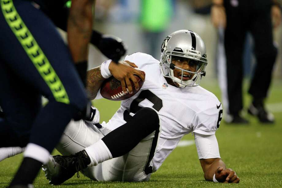 Oakland Raiders Terrelle Pryor in the second half of a preseason NFL football game against the Oakland Raiders Thursday, Aug. 30, 2012 in Seattle. Photo: AP