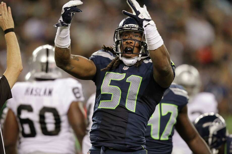 Seattle Seahawks Bruce Irvin in the second half of a preseason NFL football game against the Oakland Raiders Thursday, Aug. 30, 2012 in Seattle. Photo: AP