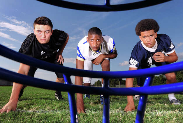 From left, Montana Quirante linebacker for Vidor, Raleigh Johnson Cornerback for Ozen and J'Marcus Rhodes Cornerback for West Orange-Stark are among several defense players expected to keep scores low in the 2012 football season. Photo taken Guiseppe Barranco/The Enterprise Photo: Guiseppe Barranco, STAFF PHOTOGRAPHER / The Beaumont Enterprise