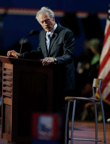 Actor Clint Eastwood speaks to an empty chair while addressed delegates during the Republican National Convention in Tampa, Fla., on Thursday, Aug. 30, 2012. (AP Photo/Lynne Sladky) Photo: Lynne Sladky