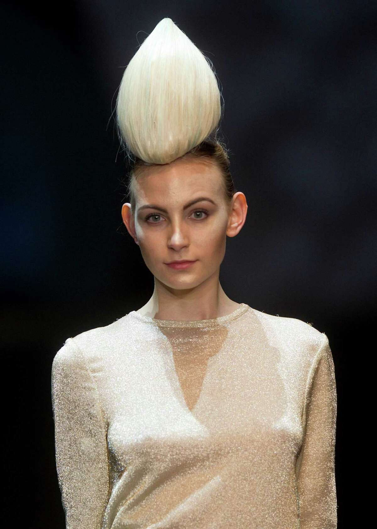 A model displays a creation by hair stylist Julio Crepaldi, during the Hair Fashion Show in Sao Paulo, Brazil, Thursday, Aug. 30, 2012.