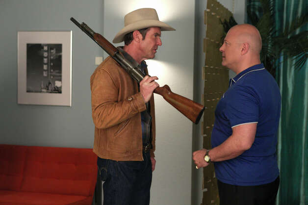 "This image released by CBS shows Dennis Quaid as Ralph Lamb, left, and Michael Chiklis as Vincent Savino in the pilot episode of ""Vegas, "" premiering Tuesday, Sept. 25 at 9 p.m.  on CBS. (AP Photo/CBS, Lorey Sebastian) Photo: AP, HOEP / CBS ENTERTAINMENT"