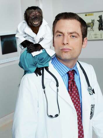 "This image released by NBC shows Crystal as Dr. Zaius, Justin Kirk as Dr. George Coleman -from the NBC comedy ""Animal Practice, "" premiering Sept. 26 at 7 p.m.  (AP Photo/NBC, Chris Haston) Photo: AP, HOEP / NBC"