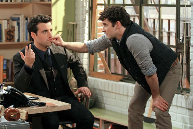 "This undated image released by CBS shows David Krumholtz, left, as Joe, a newly-engaged, accomplished architect and Michael Urie , who stars as Louis, Joe's gay co- worker and best friend in a scene from ""Partners, "" a comedy premiering Monday, Sept. 24, at 7:30 p.m.  on CBS. (AP Photo/CBS, Matt Kennedy) Photo: AP, HOEP / CBS ENTERTAINMENT"