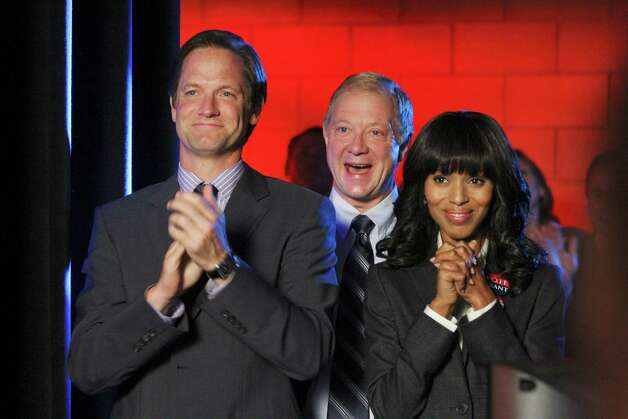 "In this publicity image released by ABC, cast members Matt Letscher, from left, Jeff Perry and Kerry Washington are shown in a scene from the series ""Scandal"".  (AP Photo/ABC, Carol Kaelson) Photo: AP, HONS / © 2012 American Broadcasting Companies, Inc. All rights reserved."