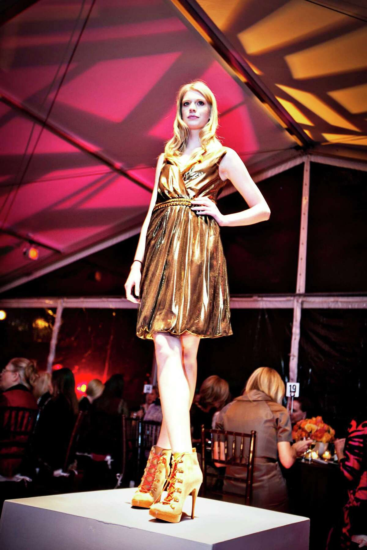 Model Alyssa Pasek showed off Tory Burch fashions during the Another Great Night in November dinner. credit: Amy Vogel