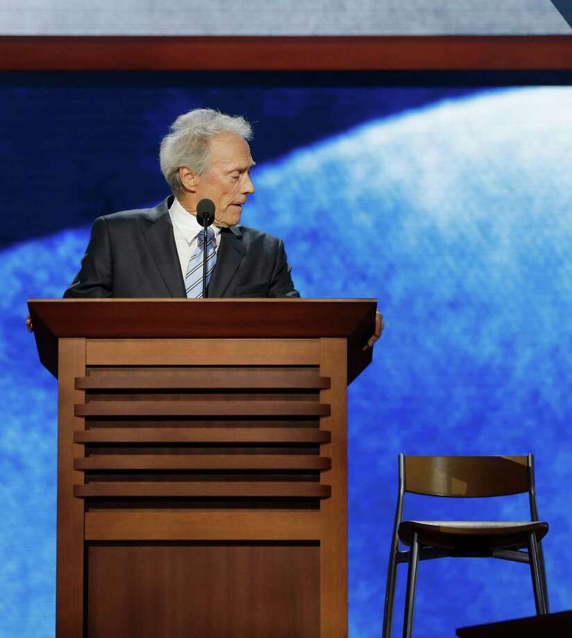 Actor Clint Eastwood addresses the Republican National Convention in Tampa, Fla., on Thursday, Aug. 30, 2012. (AP Photo/Charles Dharapak) Photo: Charles Dharapak