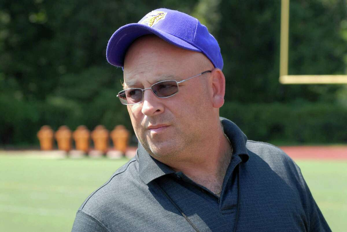Westhill High School football coach Frank Marcucio talks in Stamford, Conn. on Friday August 31, 2012 about the loss of former Westhill quarterback Peter Cernansky who died Thursday, two days after being critically injured in a skateboarding accident in Burlington, Vt.