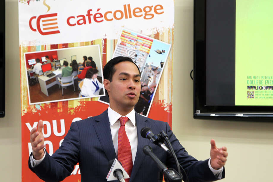 former Mayor Julián Castro speaks during a press conference kicking off College Week at Cafe College, Monday, April 16, 2012. Photo: Jennifer Whitney, For The Express-News / SAN ANTONIO EXPRESS-NEWS