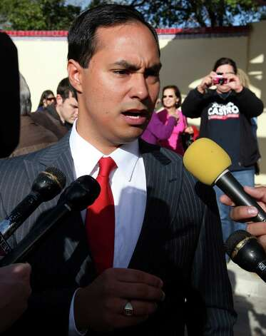 Joaquín Castro answers questions from the media after announcing his candidacy for the 20th Congressional District seat Nov. 26, 2011 at Guadalupe Plaza. Photo: Edward A. Ornelas, San Antonio Express-News / SAN ANTONIO EXPRESS-NEWS (NFS)