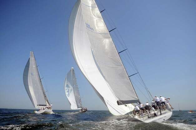 A yacht competes in the 78th annual, 238-mile Vineyard Race from Stamford Yacht Club to Buzzards Bay and back on August 31, 2012. Photo: Lindsay Niegelberg / Stamford Advocate