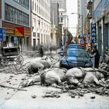 Horses on Sacramento Street killed by the rubble. Photo illustration by Shawn Clover.
