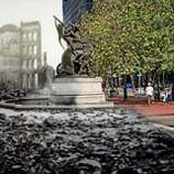 The Mechanics Monument on Bush Street. Photo illustration by Shawn Clover.