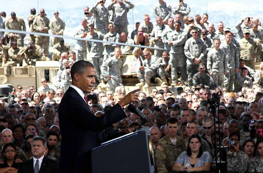 President Obama speaks to troops and military families at a hangar at Fort Bliss. Photo: Juan Carlos Llorca, Associated Press