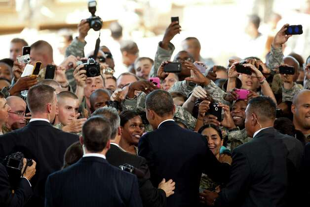 President Barack Obama address about 5,000 troops at Fort Bliss  Military Instillation on Friday August 31, 2012. The President met privately with service members and their families and to highlight the second anniversary of the end of combat operations in Iraq. Photo by Ivan Pierre Aguirre Photo: Ivan Pierre Aguirre, San Antonio Express-News / Ivan Pierre Aguirre