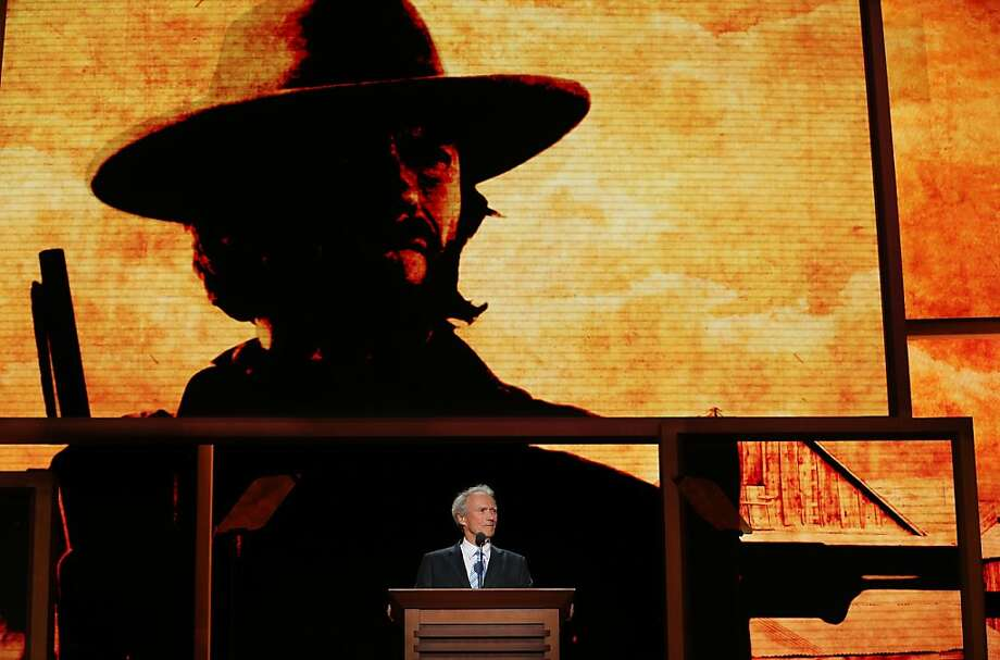 Clint Eastwood addresses the Republican convention in front of his iconic image as a Western movie hero. The former mayor of Carmel made a surprise appearance to endorse Mitt Romney. Photo: Chip Somodevilla, Getty Images