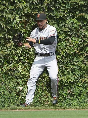 Left fielder Gregor Blanco and Welington Castillo's double both end up in the Wrigley Field ivy. Photo: Brian Kersey, Getty Images