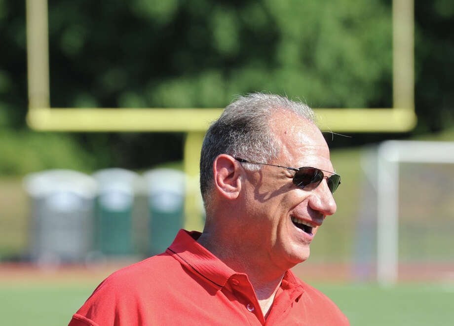Greenwich High School Head Football Coach Rich Albonizio during photo day for the Greenwich High School football team at the school, Friday, Aug. 31, 2012. Photo: Bob Luckey / Greenwich Time