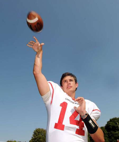 Greenwich High School quarterback Liam O'Neil during photo day for the football team at the school,