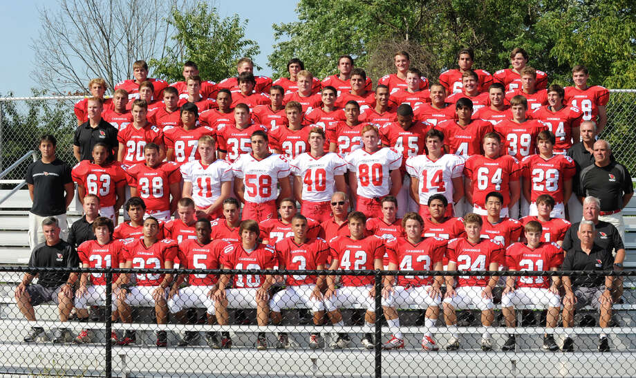 The Greenwich High School football team during photo day for the team at the school, Friday, Aug. 31, 2012. Photo: Bob Luckey / Greenwich Time