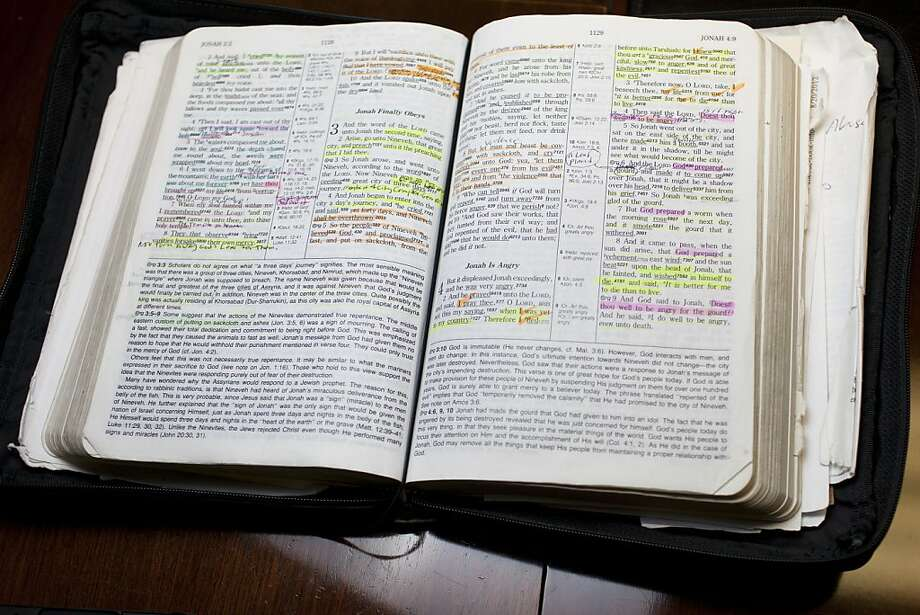 The Rev. Patrick Wooden's Bible contains colorful annotations at the Upper Room Church of God in Christ in Raleigh, N.C. Photo: D.l. Anderson, SFC