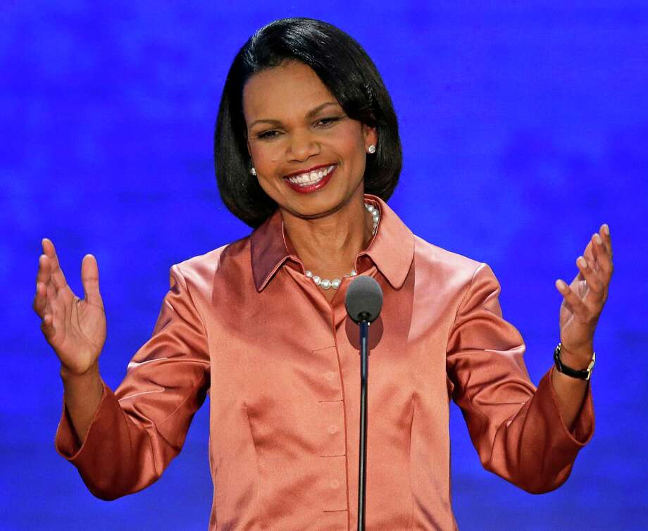 Former Secretary of State Condoleezza Rice addresses the Republican National Convention in Tampa, Fla., on Wednesday, Aug. 29, 2012. (AP Photo/J. Scott Applewhite) Photo: J. Scott Applewhite, STF / AP