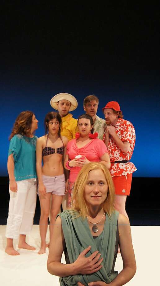 """The cruise passangers meet troublemaker Maya (Amy Prosser, front) in FoolsFury and Z Space's world premiere of Sheila Callaghan's """"Port Out, Starboard Home"""" Photo: Ben Yalom"""