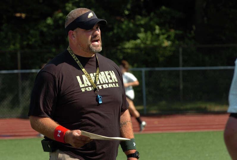 Law High School Head Coach Mark Robinson during football practice in Milford, Conn. on Friday August