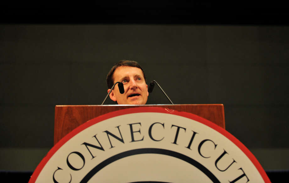 State Republican chairman Jerry Labriola gives the opening remarks during the state Republican convention at the Connecticut Convention Center in Hartford, Conn., on Friday, May 18, 2012. Photo: Jason Rearick / The News-Times
