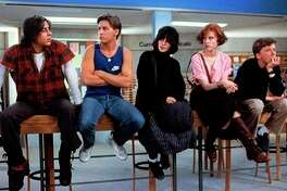 "Judd Nelson (left), Emilio Estevez, Ally Sheedy, Molly Ringwald and Anthony Michael Hall star in ""The Breakfast Club."""