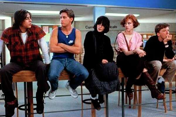 "Judd Nelson (left), Emilio Estevez, Ally Sheedy, Molly Ringwald and Anthony Michael Hall star in ""The Breakfast Club."""
