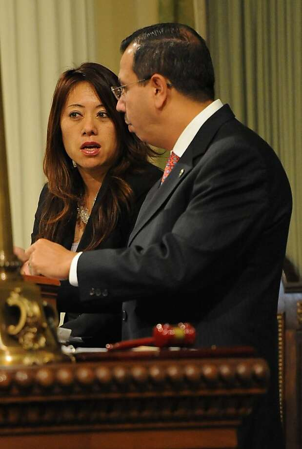 Assembly Members Fiona Ma and Tony Mendoza are seen during session in Sacramento on August 31, 2012. The Legislature met for its final day of the two-year legislative session. Photo: Susana Bates, Special To The Chronicle