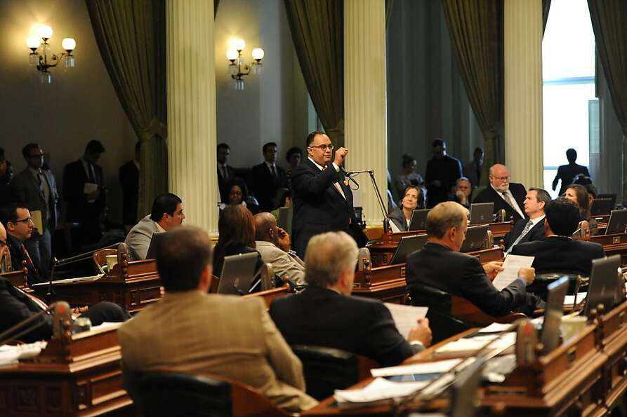 Assembly Member John A Perez speaks about the Pension bill in Sacramento on August 31, 2012. The Leg
