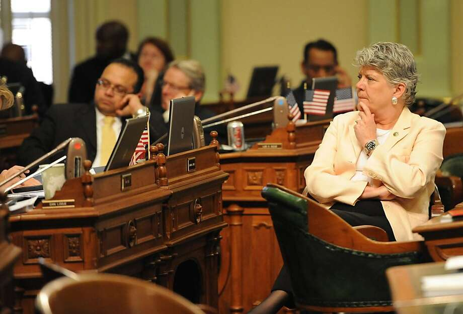 Assembly Member Julia Brownly listens as members speak about the pension bill in Sacramento on August 31, 2012. The Legislature met for its final day of the two-year legislative session. Photo: Susana Bates, Special To The Chronicle