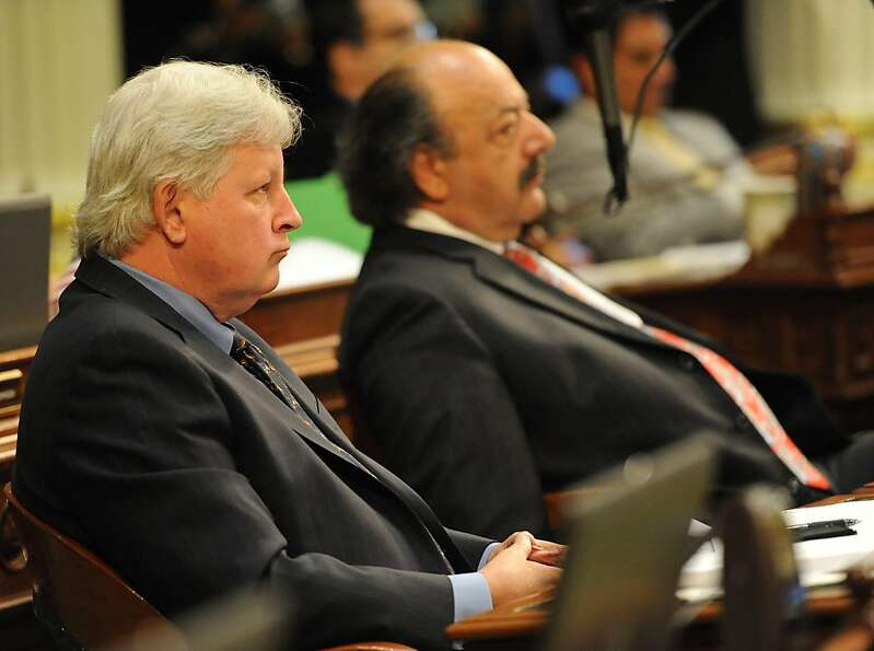 Aseembly Members Bill Berryhill and Katcho Achadjian are seen durring session in Sacramento on Augus