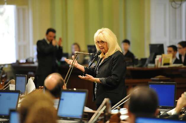Assembly Member Connie Conway speaks about the Pension bill in Sacramento on August 31, 2012. The Legislature met for its final day of the two-year legislative session. Photo: Susana Bates, Special To The Chronicle