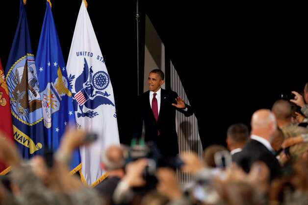 President Barack Obama arrives to address about 5,000 troops at Fort Bliss Military Installation on August 31, 2012. The president met privately with service members and their families and 