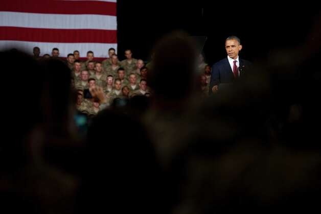 President Barack Obama addresses about 5,000 troops at Fort Bliss  Military Installation on Friday August 31, 2012. The President met privately with service members and their families and to highlight the second anniversary of the end of combat operations in Iraq.  Photo: Ivan Pierre Aguirre, San Antonio Express-News / Ivan Pierre Aguirre