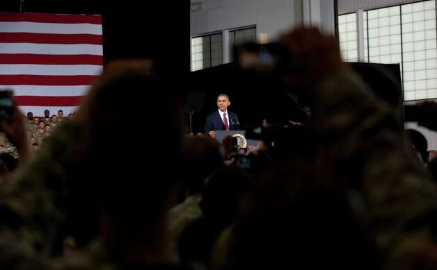 President Barack Obama addresses about 5,000 troops at Fort Bliss  Military Installation on August 31, 2012. The president met privately with service members and their families and 