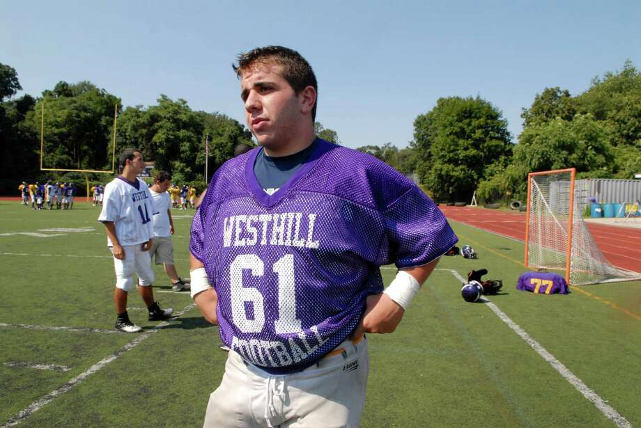 Westhill High School  co-captains  Mike Vigliotti talks in Stamford, Conn.on Friday August 31, 2012 about the loss of former Westhill football teammate  Peter Cernansky who died Thursday, two days after being critically injured in a skateboarding accident in Burlington, Vt. Photo: Dru Nadler / Stamford Advocate Freelance