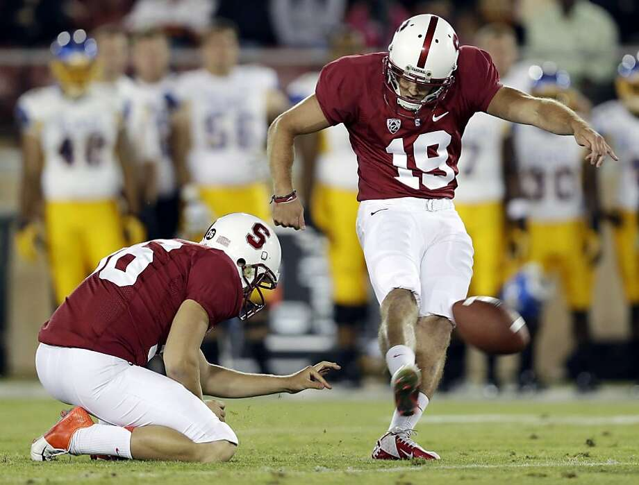 Stanford's Jordan Williamson (19) kicks a 46-yard field goal against San Jose State during the first half of an NCAA college football game in Stanford, Calif., Friday, Aug.  31, 2012. (AP Photo/Marcio Jose Sanchez) Photo: Marcio Jose Sanchez, Associated Press