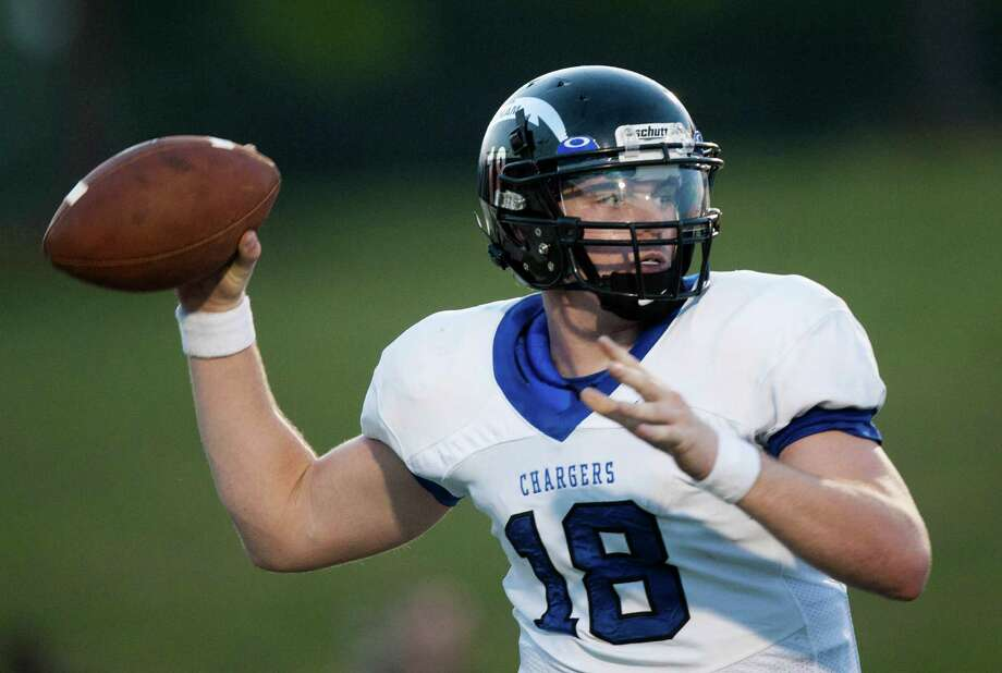Clear Springs quarterback Zach Cripps (18) throws a pass against North Shore during the second quarter at the Galena Park Athletic Complex on Friday, Aug. 31, 2012, in Houston. Photo: J. Patric Schneider, Houston Chronicle / © 2012 Houston Chronicle