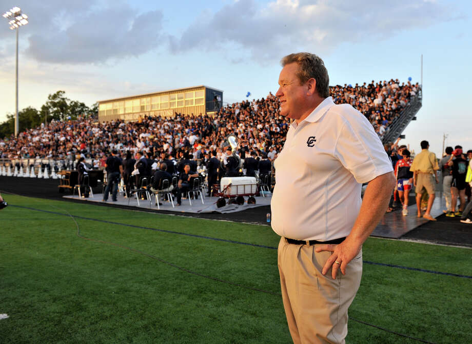 New Central Catholic Head Coach Don Byrd looks out over Benson Sadium prior to the start of his teams game versus Holy Cross. Photo: Express-News