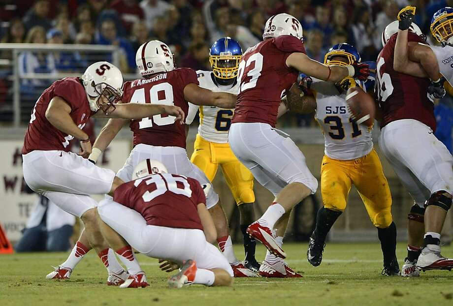 Jordan Williamson #19 of Stanford University kicks a forty six yard field goal at the end of the first half against San Jose State University during an NCAA football game at Stanford Stadium on August 31, 2012 in Palo Alto, California. (Photo by Thearon W. Henderson/Getty Images) Photo: Thearon W. Henderson, Getty Images