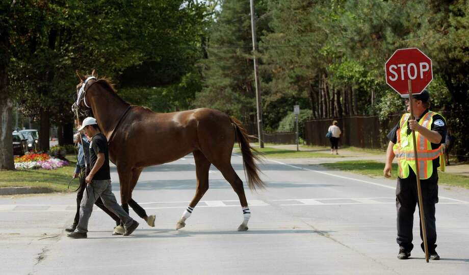 Everything comes to a stop when the horses cross Union Avenue unless you are a horse on the way to race at the Saratoga Race Course in Saratoga Springs, N.Y.  Aug. 31, 2012.   (Skip Dickstein/Times Union) Photo: Skip Dickstein