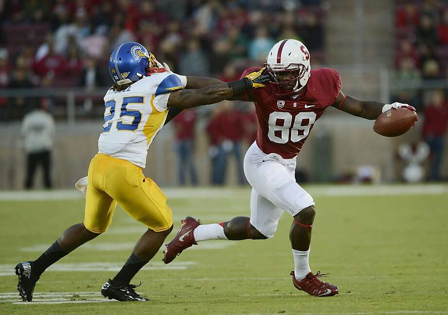 Ronnie Yell #25 of San Jose State University is called for face mask on Ty Montgomery #88 of Stanford Univerisy in the first quarter of an NCAA football game at Stanford Stadium on August 31, 2012 in Palo Alto, California. (Photo by Thearon W. Henderson/Getty Images) Photo: Thearon W. Henderson, Getty Images