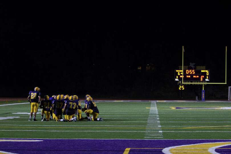 Troy High breaks for a time-out during the game against Burnt Hills Friday, Aug. 31, 2012 in Troy, N
