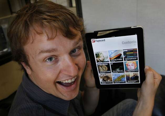 Evan Doll, co-founder and creator of the Flipboard iPad app, demonstrates its features in San Francisco, Calif., on Wednesday, July 28, 2010. Flipboard is quickly becoming one of the hottest apps downloaded for the iPad. Photo: Paul Chinn, The Chronicle